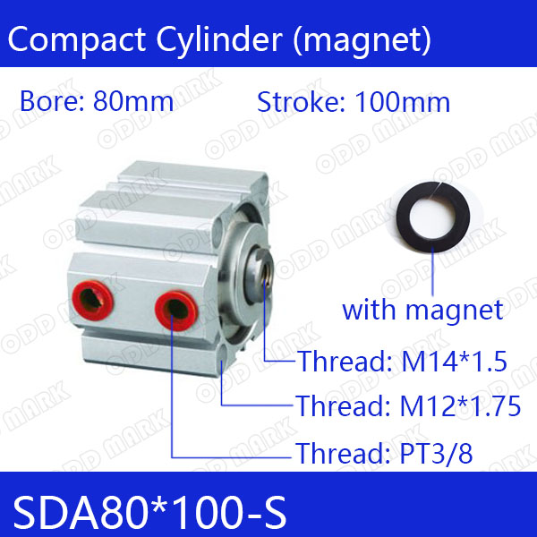 SDA80*100-S Free shipping 80mm Bore 100mm Stroke Compact Air Cylinders SDA80X100-S Dual Action Air Pneumatic Cylinder SDA80-100