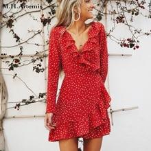 M.H.Artemis Sexy v neck ruffles Chiffon Dress Summer short women dress blogger same styles little star print dress 2017 elegant