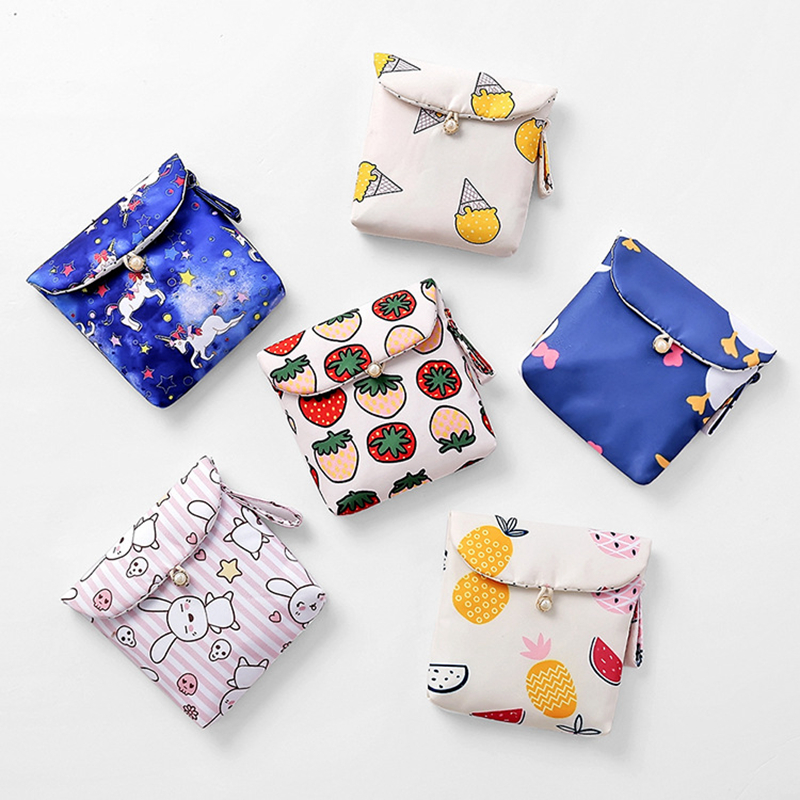 Cute Cartoon Unicorn Sanitary Napkin Towel Storage Bag Cotton Pads Package Coin Purse Jewelry Organizer Credit Card Pouch Case