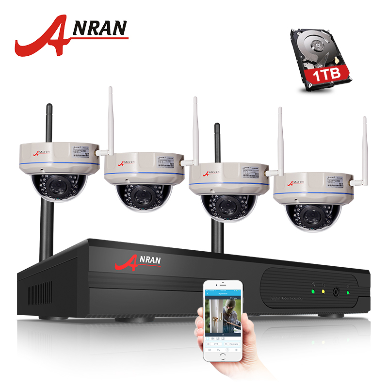 ANRAN 1080P HDMI 8CH NVR 2TB HDD HD Vandal-Proof Dome WIFI IP Camera Security 30 IR Wireless Home Video Surveillance CCTV System plug and play 8ch wireless nvr h 264 video surveillance kit 720p hd outdoor vandal proof ir dome wifi cctv camera system 2tb hdd