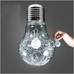 Dia:15cm/25cm/30cm Brief personalized big bulb pendant light metal single-head glass bar counter aisle lights Pendant Lamps