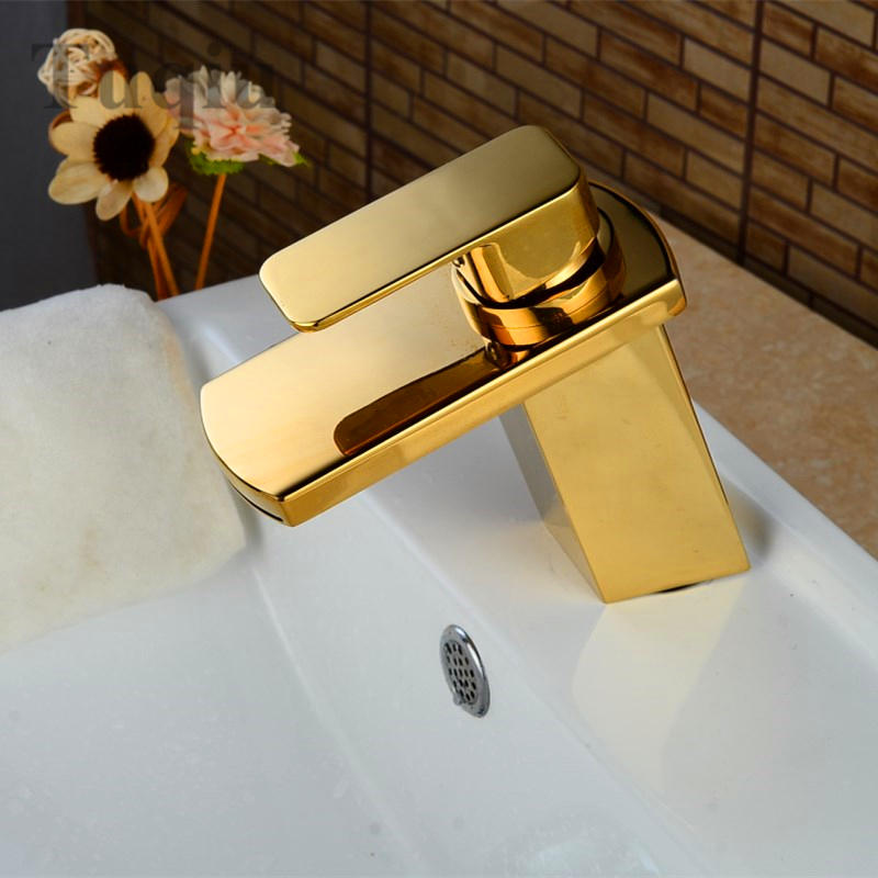 Free Shipping brass Chrome/gold bathroom sink faucet single handle bathroom basin waterfall faucet cold and hot contemporary chrome finish single handle bathroom sink faucet silver