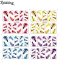 Rolabling colorful feather sticker for nail art nail sticker on nail art stickers for nail sticker bird of feather