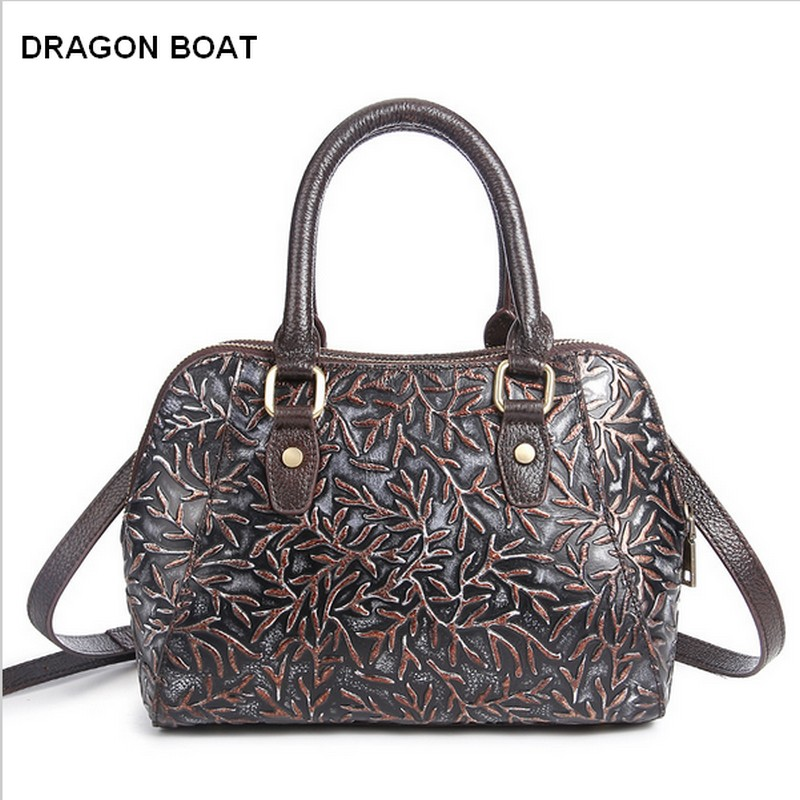 2017 New Women Messenger Bags Genuine Leather Handbags Famous Brand Shoulder Bag Floral Print Tote Bag bolsa feminina new genuine leather bags for women famous brand boston messenger bags handbags tassel tote hand bag woman shoulder big bag bolso