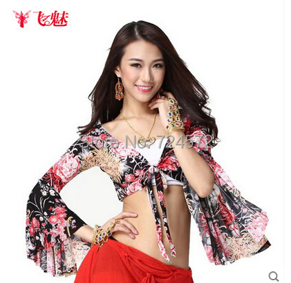 Belly Dance Dancing Clothes Color Horn Sleeves  Top&tees Belly Dance Top Dance Costumes