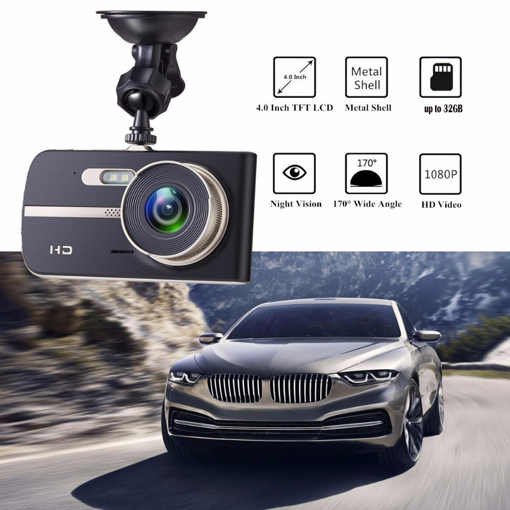 Full HD 1080P 4 Inch IPS HD Screen 2 Lens Car DVR Camera Video Recorder Dual Camera Dash Cam 2 LED Night Vision