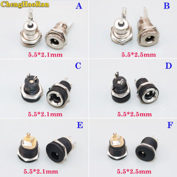 ChengHaoRan 1pcs DC Power Jack Socket Female Panel Mount Connector 5.5mm 2.1mm connector charging Plug 5.5*2.1mm 5.5*2.5mm image