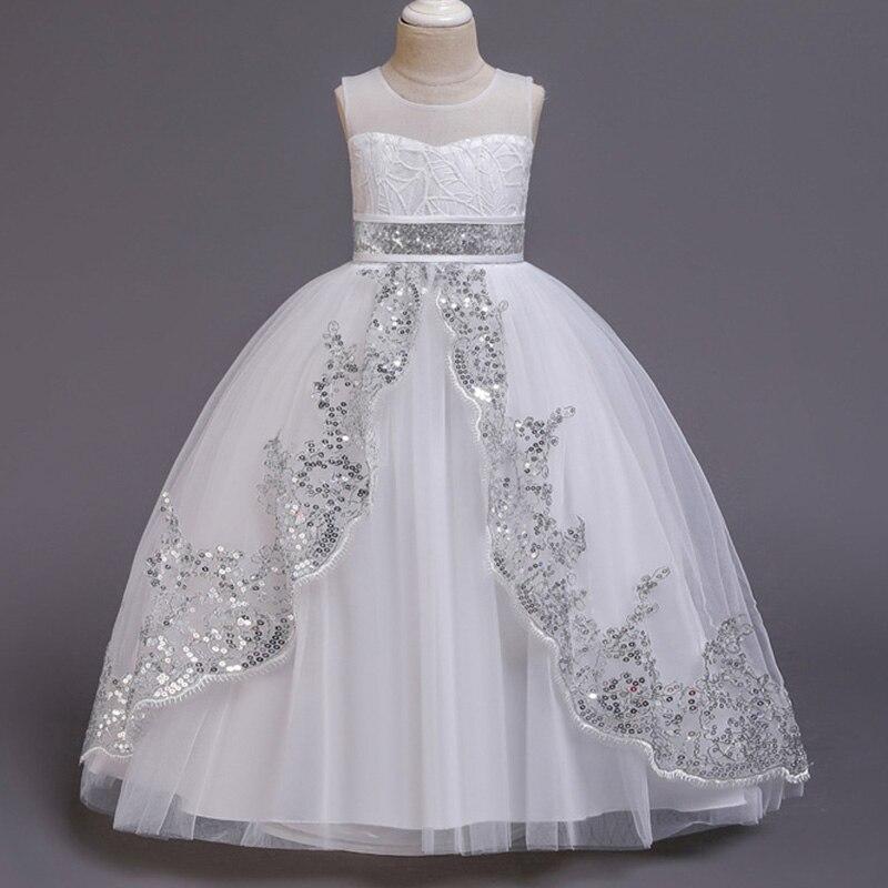 New Style Girl Wedding Dress Flower Bridesmaid Banquet Segments Show Long Dress Girl Graduation Shop Party Long Dress