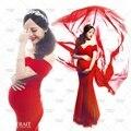 Novas mulheres grávidas Maternidade Fotografia Props traje Vermelho Sexy Elegante Vestido Romântico Nobre Sessão de Fotos pessoais Do chuveiro de Bebê