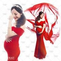 Yeni Analık hamile kadın Fotoğraf Sahne Kırmızı Seksi Zarif Romantik Elbise Asil Fotoğraf Çekimi kostüm kişisel Bebek duş