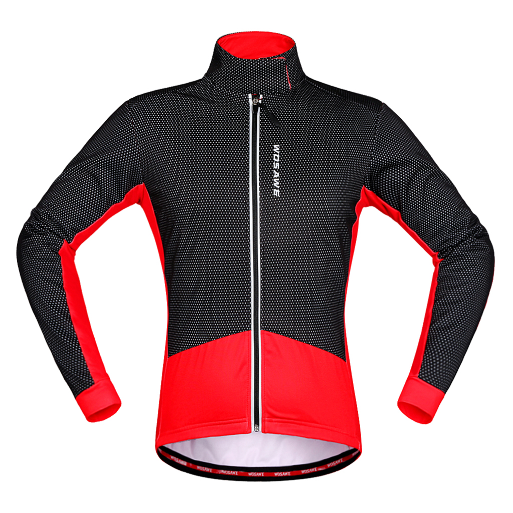 Winter Cycling Jackets Thermal Fleece Windproof Long Sleeve Jersey Suitable for Long and Short Riding, Night Riding Leisure