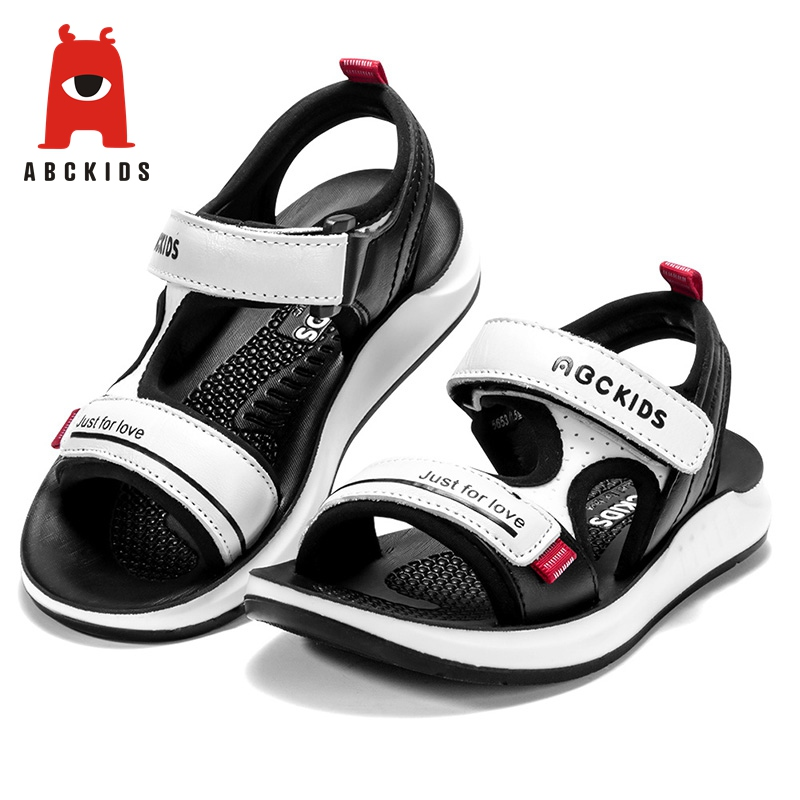 Abckids 1-4T Summer Shoes Kids Baby Boy Leather Sandals Flat Soft Sole Shoes Anti-slip Sandals Letter Print Walking Shoe