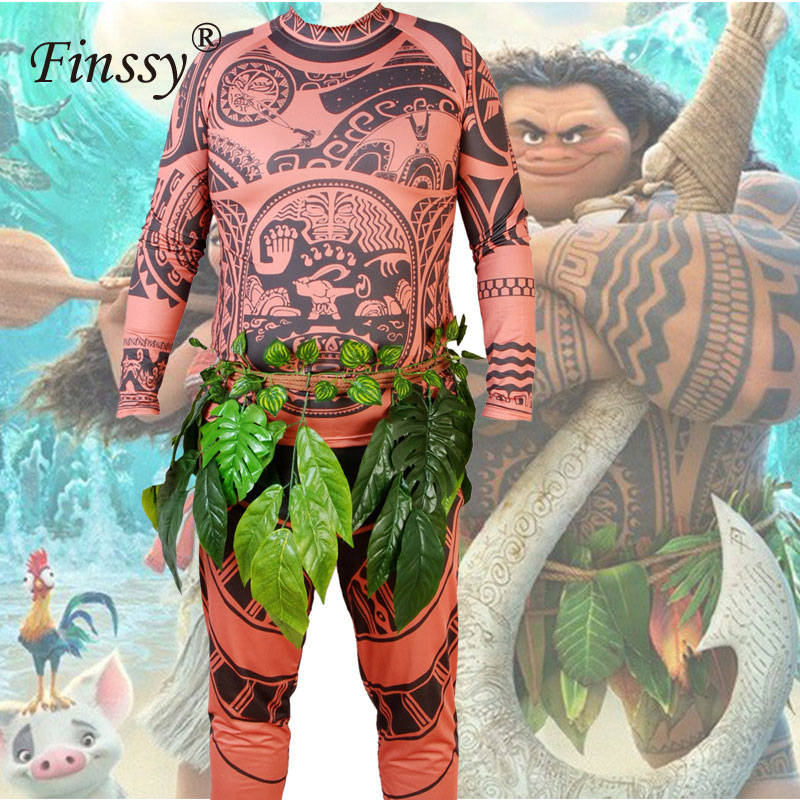 Hot Movie Ocean Romance Moana Maui Cosplay Costume for Men Coverall Halloween Costume for Men Party Dress Masquerade