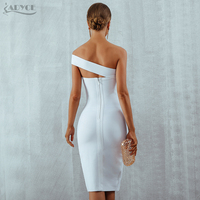 Adyce White Bodycon Bandage Dress Women Vestidos 2019 Summer Sexy Elegant Black One Shoulder Midi Celebrity Runway Party Dresses 4