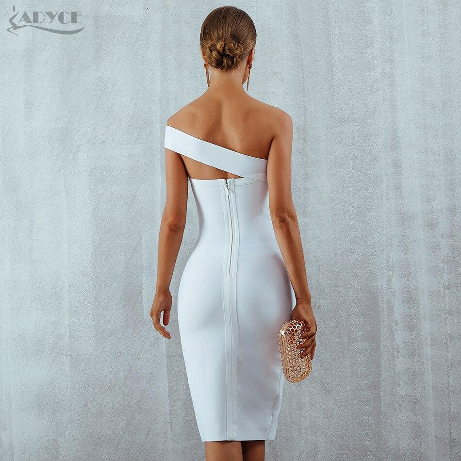 Adyce Bodycon Bandage Dress Vestidos Verano Summer Women Sexy Elegant White Black One Shoulder Midi Celebrity Party Dresses #5