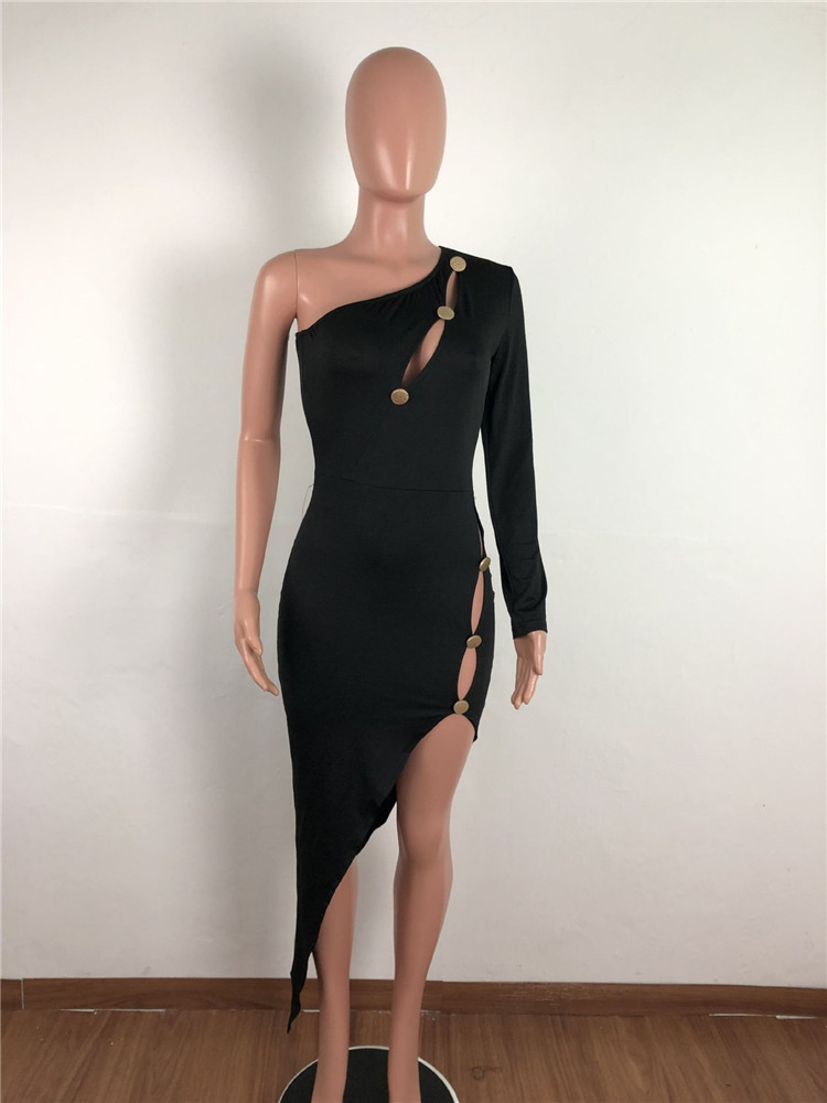 Sexy High Spit Solid Asymmetrical Bodycon Dress Button Hollow Out One Shoulder Long Sleeve Summer Women Fashion Party Outfits in Dresses from Women 39 s Clothing