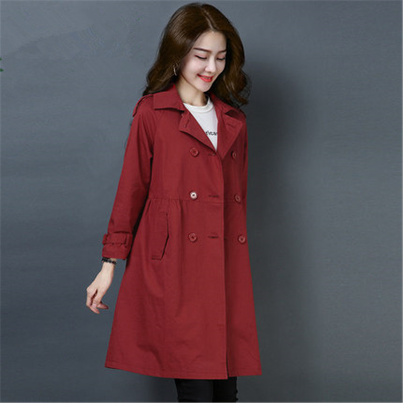 2019 Fashion Plus Size Women's   Trench   Coats Casual Double-breasted outerwear Spring Autumn long   Trench   Coats Woman Tops X773