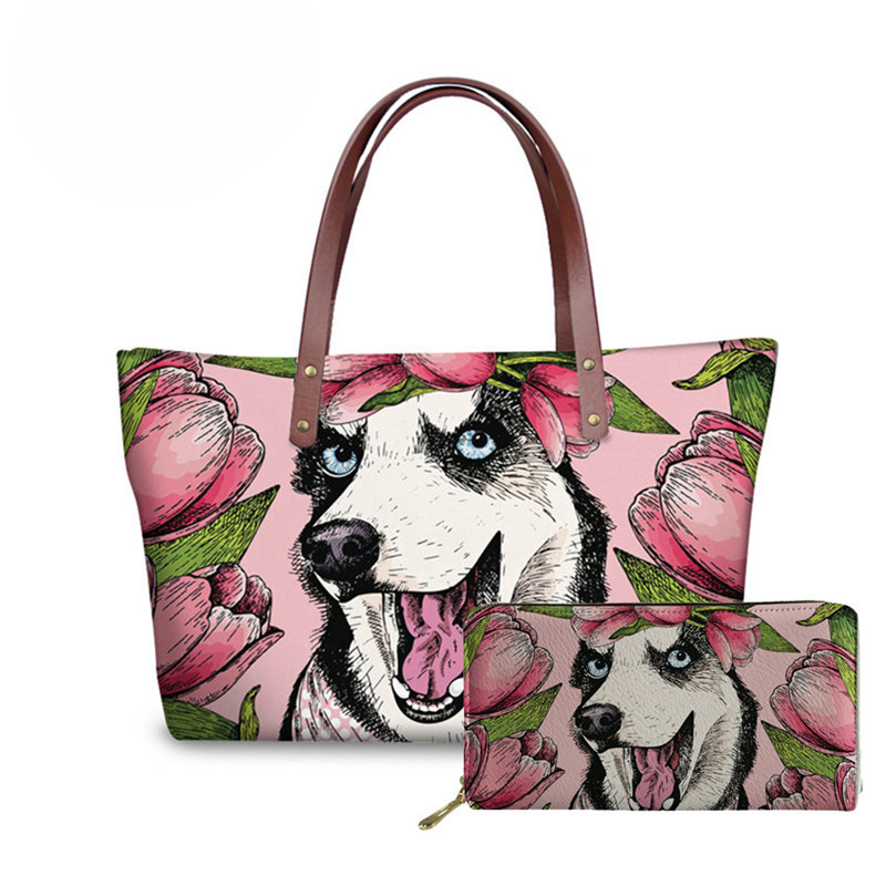 NOISYDESIGNS Funny Husky Dogs Pattern Leather Purses and Handbags Large Capacity Top-handle Bags for Women Designer Shoulder Bag