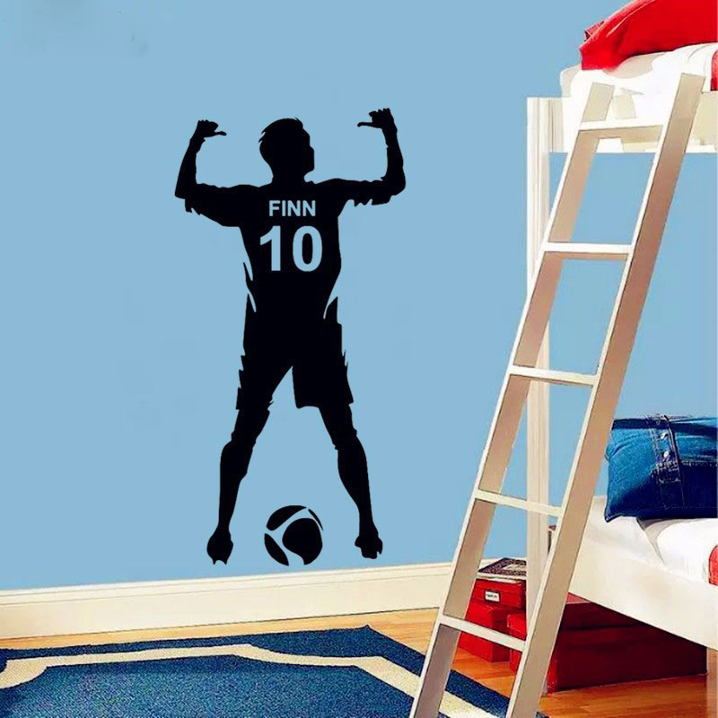 Football Personalized Name Number Vinyl Wall Decal Poster Wall Art Decor Kids Boy Bedroom Soccer Wall Sticker decoration3YD4 in Wall Stickers from Home Garden
