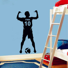 Football Personalized Name & Number Vinyl Wall Decal Poster Art Decor-Kids Boy Bedroom Soccer Sticker decoration3YD4