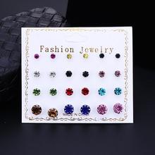 Bohopan 12Pairs/Set Summer Exquisite Stud Earrings Set Colorful For Women Shine Rhinestone Earings Fashion Jewelry 2019