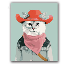 American film animation character west cowboy cat Cute wombat diy digital oil painting by coloring number with