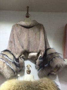 Image 4 - fashion luxury women genuine full pelt mink fur poncho with fox fur cuff 100% real fur high collar pullover shawls and wrap coat