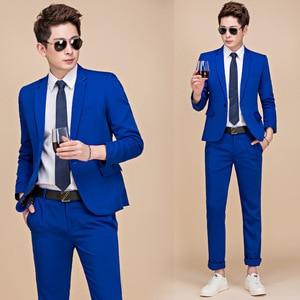 Image 3 - PYJTRL M 5XL Tide Men Colorful Fashion Wedding Suits Plus Size Yellow Pink Green Blue Purple Suits Jacket and Pants Tuxedos
