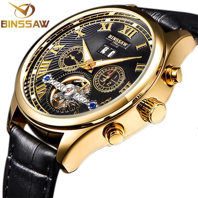 binssaw - BINSSAW 2019 Men Luxury Brand Tourbillon Mechanical  Fashion Casual Leather Business Sports Automatic Watch Relogio Masculino