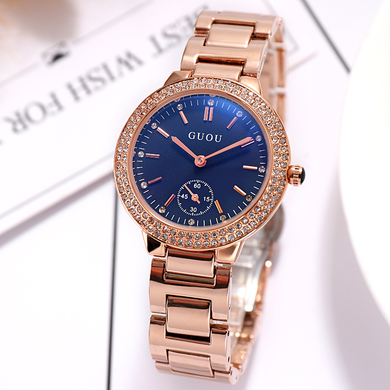 Luxury Brand Fashion Blue Dial Clock Rose gold Steel Band Female Diamond quartz Dress watch waterproof Gift Luxury Wristwatches
