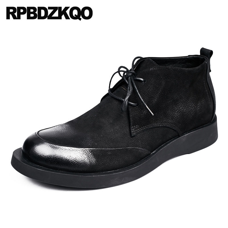 Short Black Lace Up Designer Shoes Men High Quality Full Grain Leather Vintage Booties Dress Genuine Oxford Ankle Boots Footwear wholesale new men genuine leather lace up pointed toe checked men s oxford dress shoes high quality celebrity ankle boots