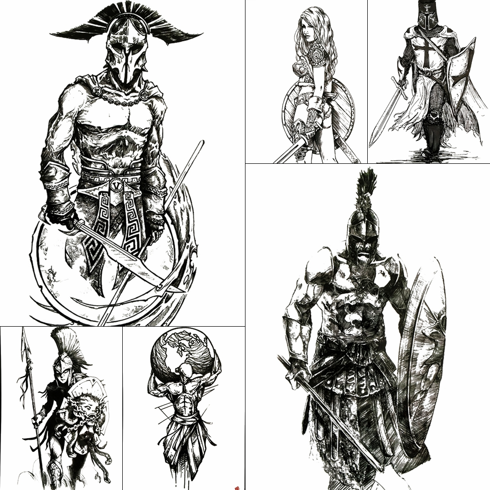 Large Cool Spartan Warrior Temporary Tattoos For Men Boys Ancient Gladiator Fake Waterproof Big Arm Tattoo Stickers Ares Mars