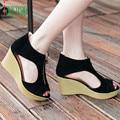 Высокое качество Женская Обувь Летние Сандалии Повседневная Peep Toe Платформы Клинья Сандалии Обувь 170224