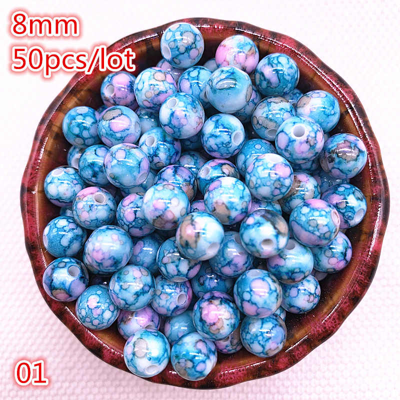 NEW 50pcs 8mm Flowering Round Acrylic Beads Loose Spacer Beads for Jewelry Making DIY Bracelet #01