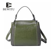 BEWITU Hot Sale Women Genuine Leather Handbag Women Solid Zipper Leather Handbag Oil Wax Cowhide Solid Color Shoulder Bags