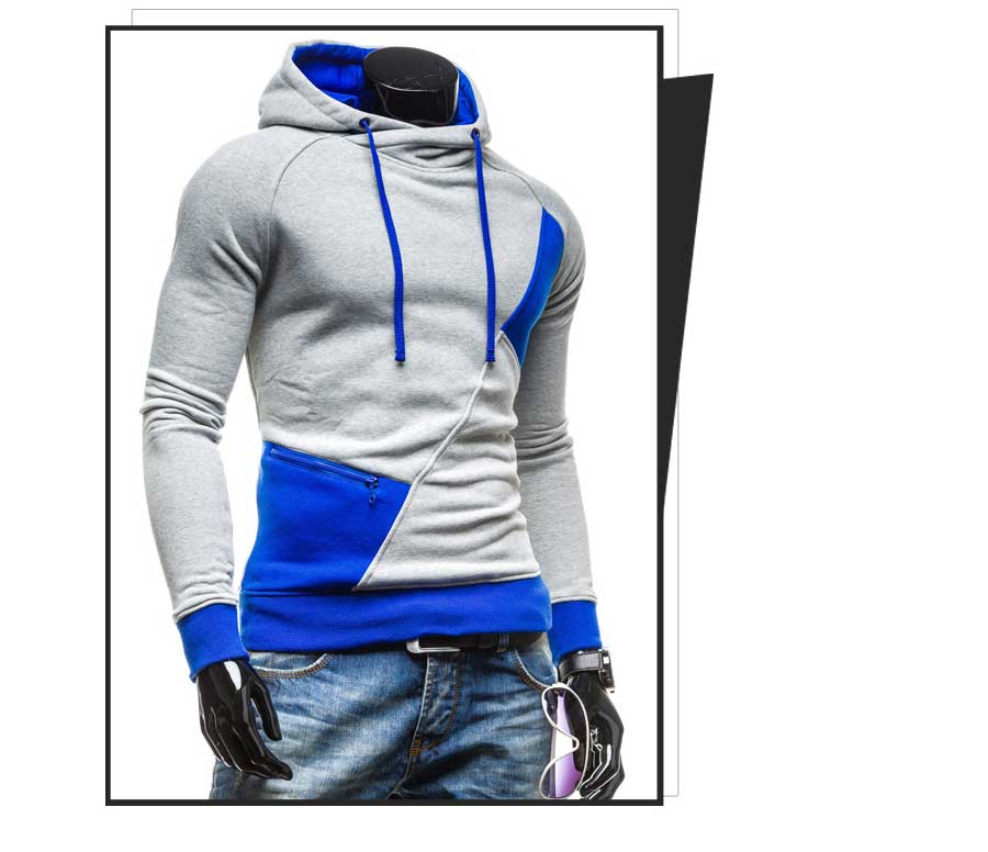 spring and autumn new hoodie men's matching color patchwork jumper Korean version of men's coat 34