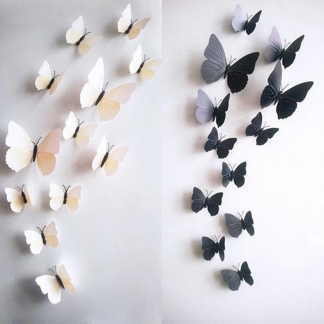 Urijk 12 шт./компл. ПВХ 3D наклейки на стену в форме бабочки для украшения дома ТВ задний план детская спальня наклейка на стену многоцветный DIY