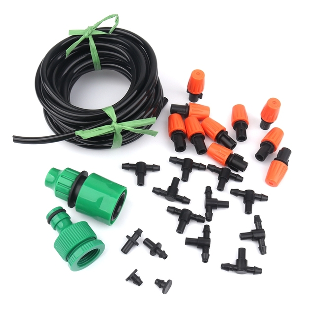 5m 10m Micro Spray Irrigation System 4/7mm Hose DIY Adjustable Sprinkler Outdoor Plant Greenhouse Garden Automatic Watering Kits