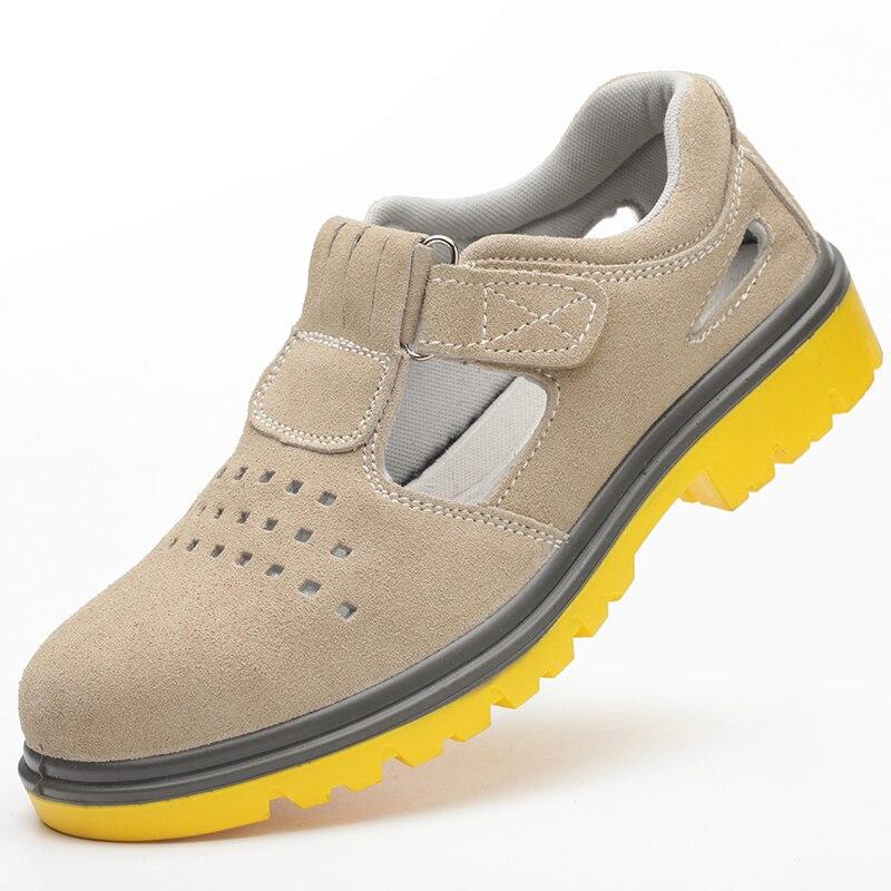 Ayakk.'ten Çalışma ve Güvenlik Botları'de Artı boyutu erkek moda nefes çelik ayak kapakları çalışma güvenliği yaz ayakkabı kaymaz inek süet deri sandalet platformu ayakkabı'da  Grup 1
