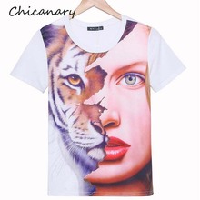 3D Tiger Girl Face Print Women Short sleeve T shirts Outwear Soft Tee Top