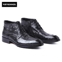Vintage Brand Men Genuine Leather Work Safety Boots Crocodile Lace Up Business Man Footwear New Winter Shoes Office Ankle Boots