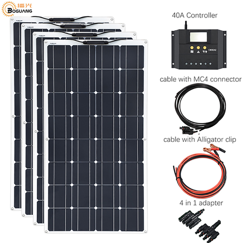 4 100W Flexible Solar Panels 100 watts Solar Module Charger for RV Boat 400W Solar Panel