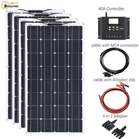 4*100W Flexible Solar Panels 100 watts Solar Module Charger for RV/Boat 400W Solar Panel Power Controller System