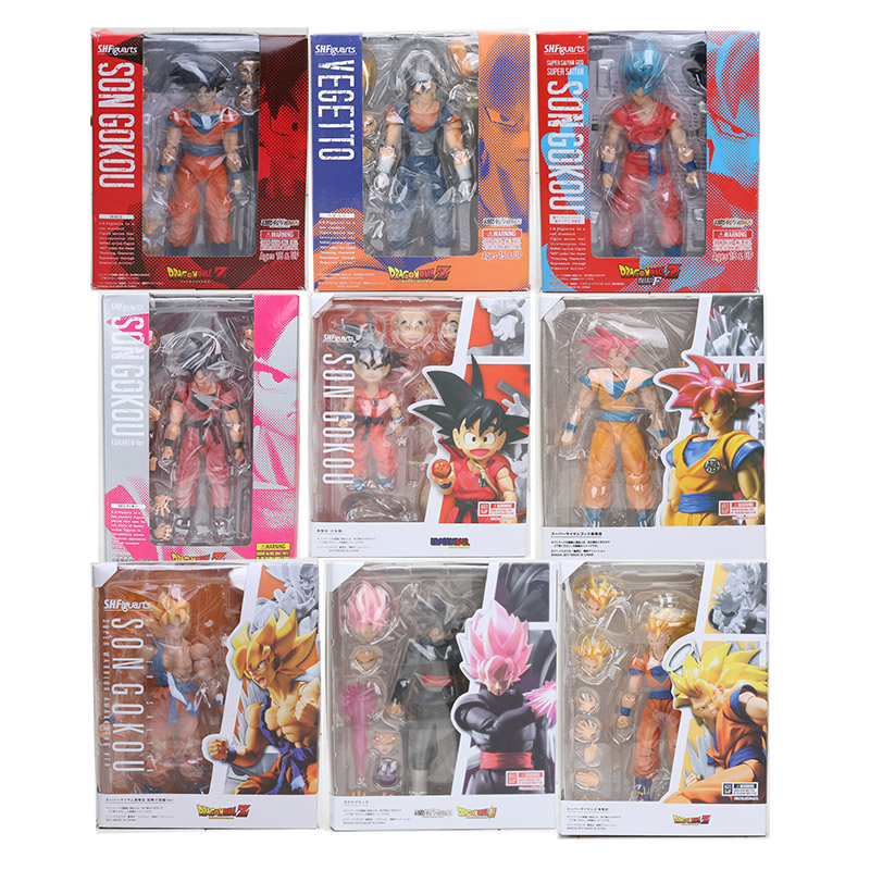 16cm SHF figuarts Dragon Ball Z Son Goku SHFiguarts Super Saiyan Vegetto Goku Black PVC Action Figure Collection Toy in box