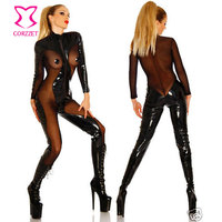 Corzzet Plus Size Sexy Bodysuit Latex Pvc Dress Jumpsuit Zentai Costume Women Black Catsuit Pole Dance Clothes