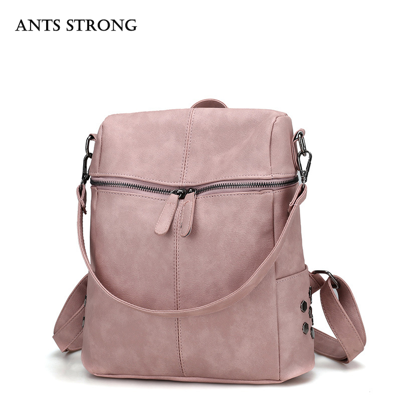 ANTS STRONG Retro college wind shoulder bag Campus casual girls backpack Multi purpose school bag