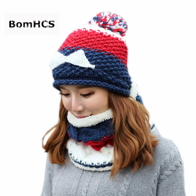 Bomhcs 2pcs Suit Womens Thick Warm Hat Scarf 100 Handmade