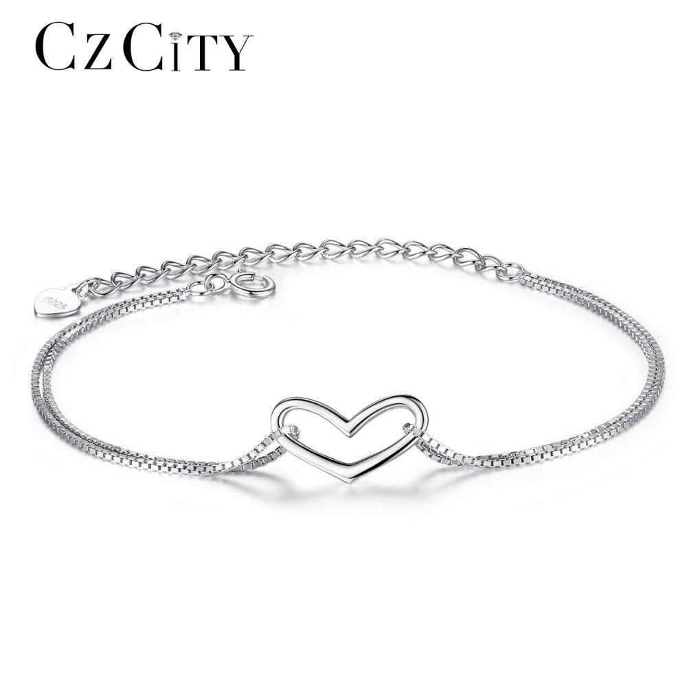CZCITY Marque Sterling Argent Femmes Coeur Amour Charme Bracelet Simple Style Fille Cadeau Bijoux Délicat Chaîne Bracelet pour les Femmes
