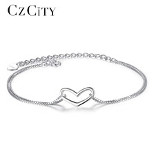 CZCITY Brand Sterling Silver Women Heart Love Charm Bracelet Simple Style Girl Gift Jewelry Delicate Chain Bracelet for Women