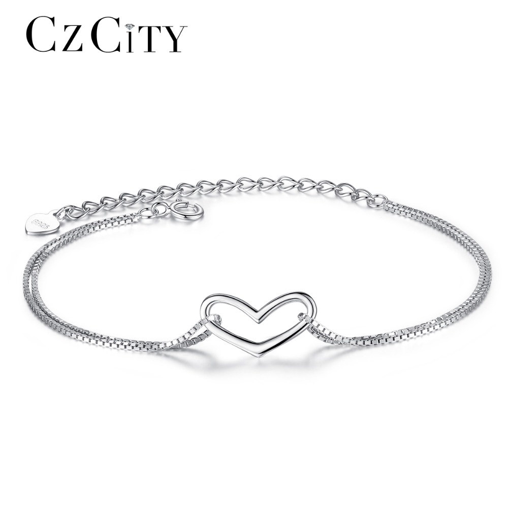 CZCITY Marque Amour Charme Bracelet Simple Style Délicat Sterling Argent 925 Femmes Coeur Chaîne Bracelet pour les Femmes Fine Jewelry